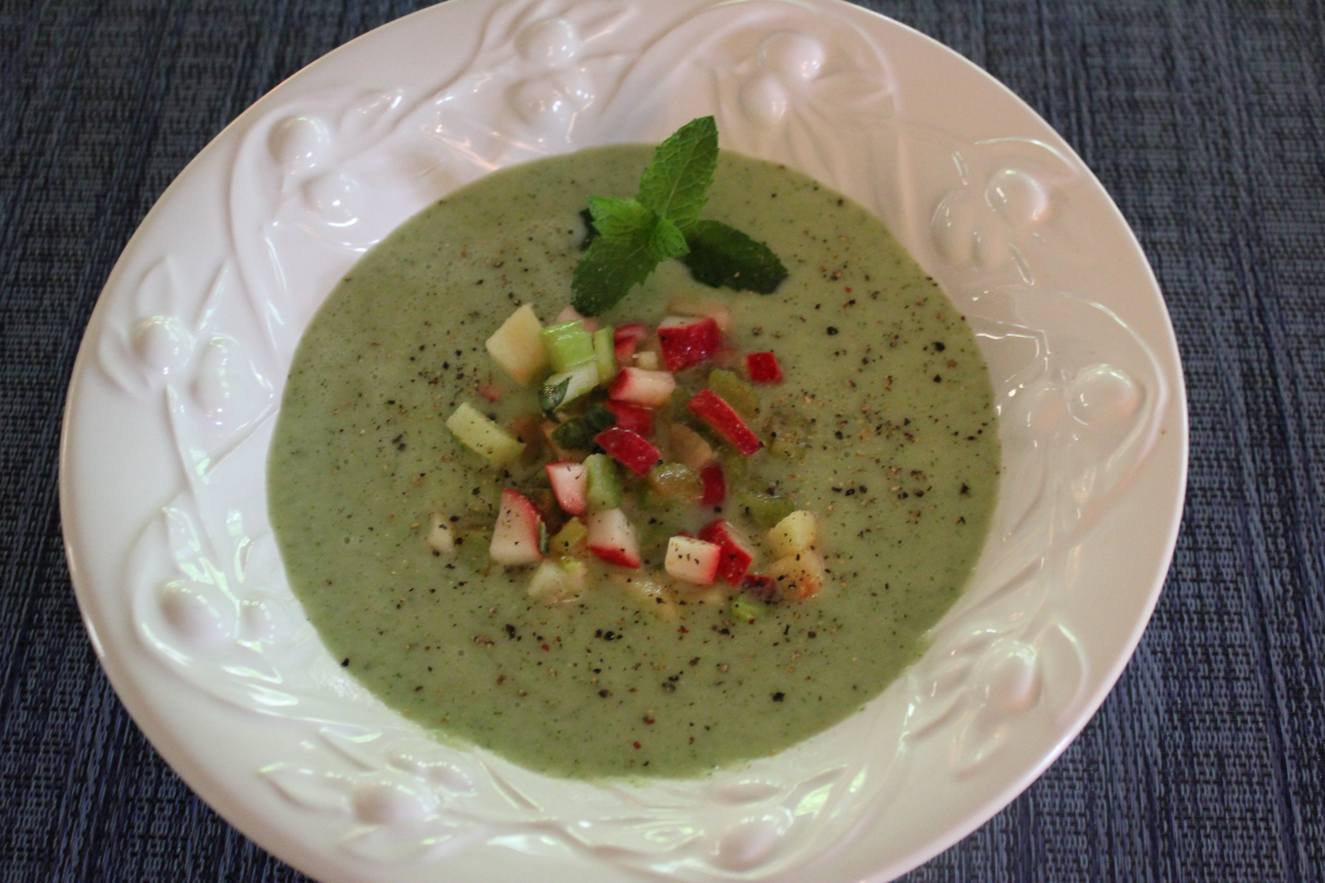 Chilled Cucumber Melon Soup with Radish Celery Salsa Kels Cafe