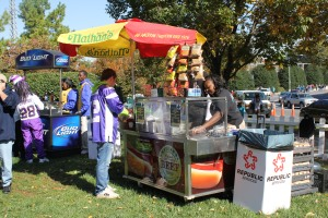Food stands outside Panthers stadium