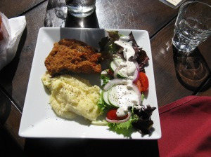 Oxford fried chicken and salad
