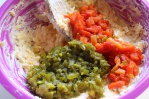 Add pimentos and jalapenos