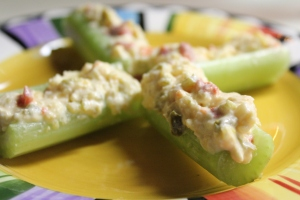 Kel's Pimento cheese stuffed celery