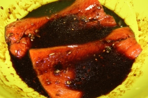 Place salmon in marinade