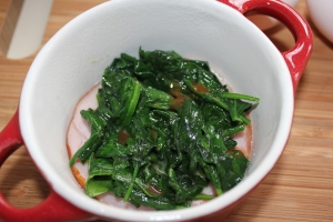 Ramekin with Canadian bacon, spinach, hot sauce