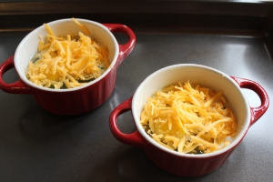 top eggs with cheddar