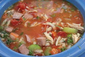 Turkey, kielbasa and bean soup