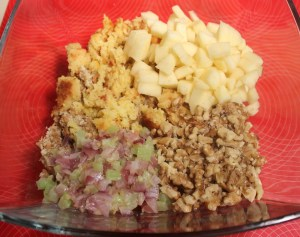 Add apples, walnuts, cornbread etc. to stuffing