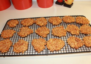 Cool parmesan crisps on baking rack
