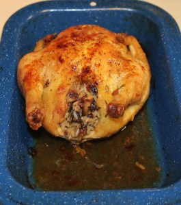 Cornish game hen stuffed with rice and chanterelles