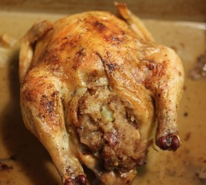 Cornish game hen with apple walnut stuffing
