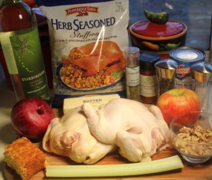 Cornish game hens with apple walnut stuffing