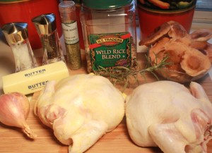 Cornish hens with rice and mushroom stuffing ingredients