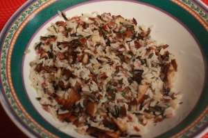 Mix wild rice and chaterelle mushrooms