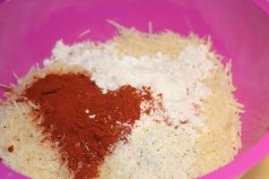 Place parmesan crisp ingredients in bowl