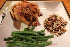 Sneak peak Cornish game hen with apple walnut stuffing