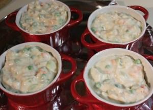 Fill ramekins with pot pie mixture