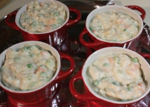 Fill ramekins with pot pie mixture