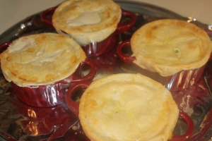 Pot pies out of the oven