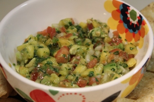 Kel's pineapple tomato salsa with avocado