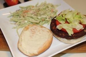Nayonaise with black bean burger