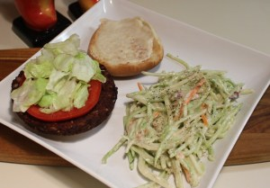 Slaw and black bean burger with Nayonaise