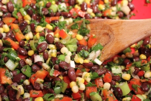Black bean salad closeup
