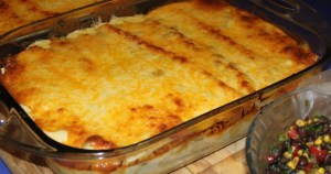 Enchiladas out of the oven