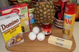 Individual Pineapple upside down cake ingredients