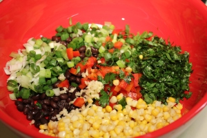 Place beans and veggies in bowl