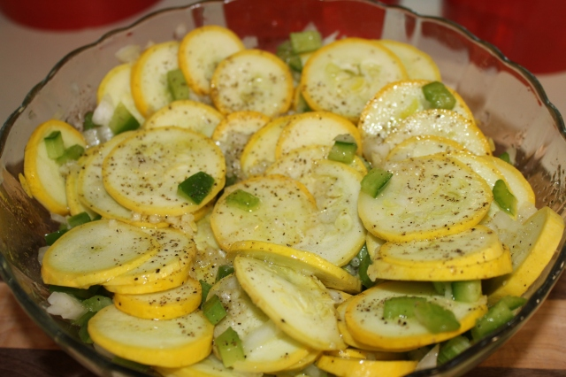 Pour the marinade over the squash