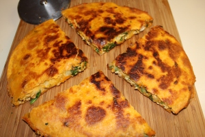 Awesome chicken and spincah quesadillas!