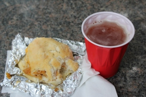 Chicken N Cheddar biscuit and a cold brew!