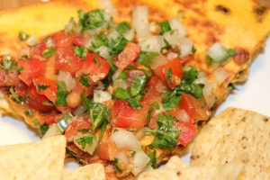 Kel's quesadilla and pico de gallo