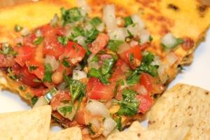 Kel's quesadilla and pico de gallo