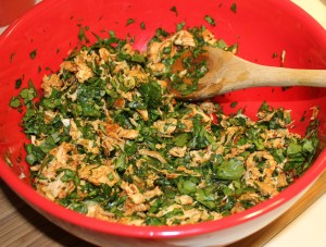 Mix chicken with spinach, etc.