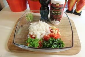 Place pico de gallo veggies, etc. in bowl