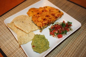 Quesadilla with guacamole, pico de gallo and chips