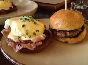 Tavernita's Eggs Benedict and mini burger