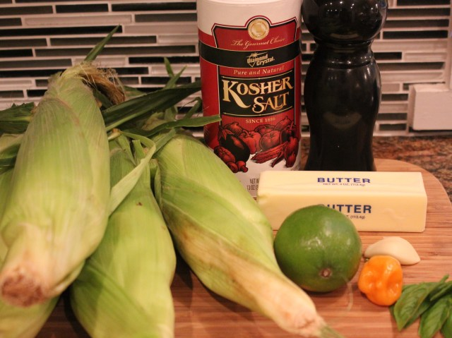 Grilled habanero corn ingredients'