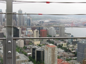 Space Needle view of Seattle, cloudy of course
