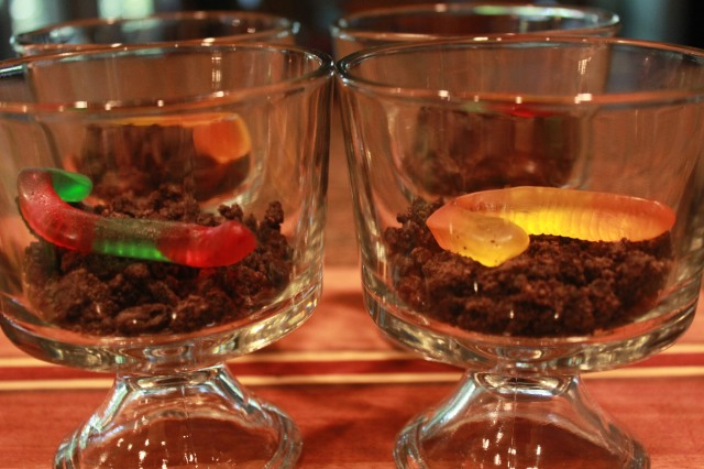 Fill trifles with some dirt and a worm