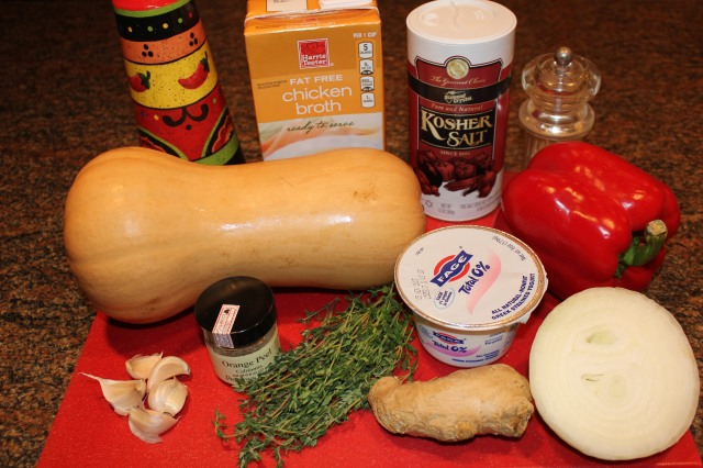 Kel's Roasted Butternut Squash and Red Pepper Soup ingredients