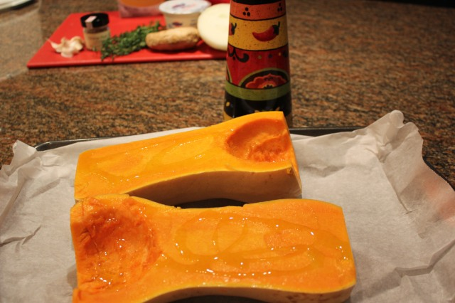 Prepare the butternut squash for roasting