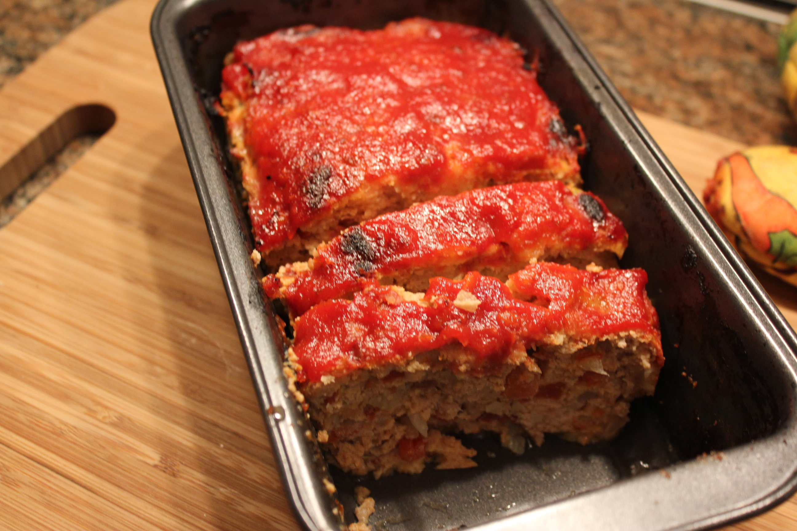 Meatloaf with red gold tomatoes and mama selita s jalapeno ketchup