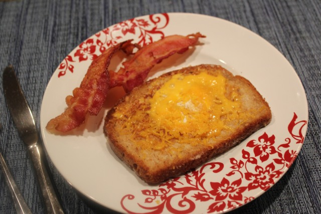 Egg in a basket with bacon