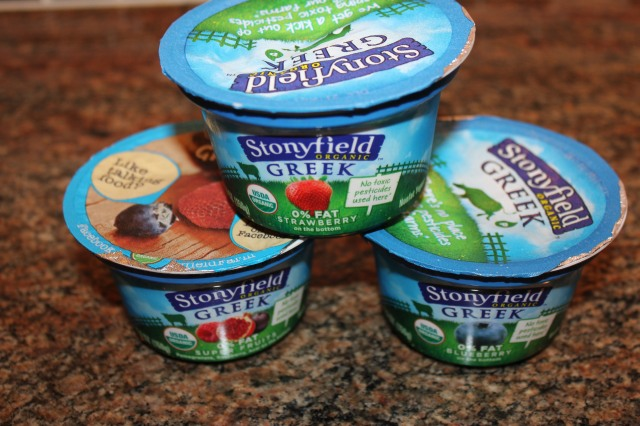 Stonyfield Greek yogurts