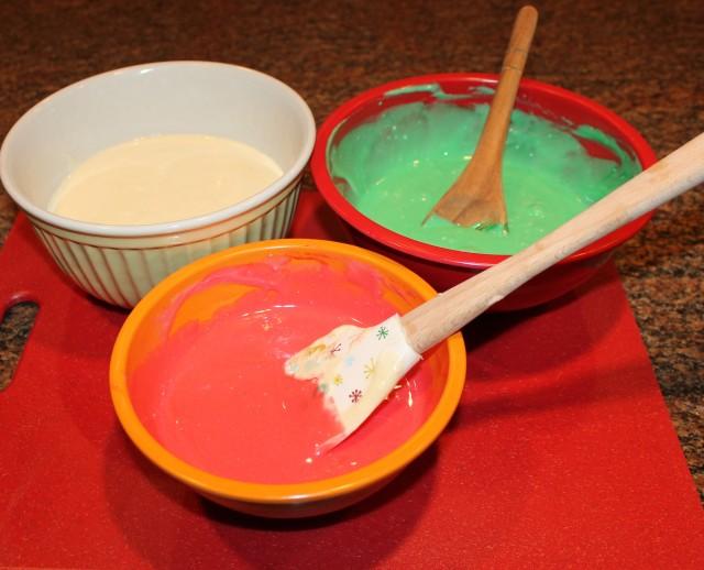 Three bowls of icing