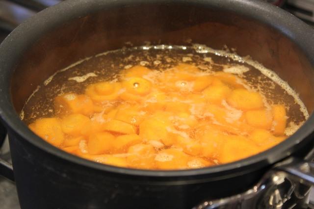 Boil carrots until just tender