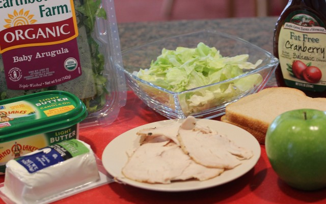Ingredients for turkey arugula  panini and salad