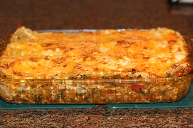 Kel's Buffalo chicken lasagna out of the oven