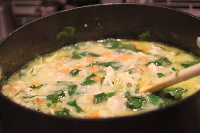 Kel's Lemony chicken soup is almost ready!